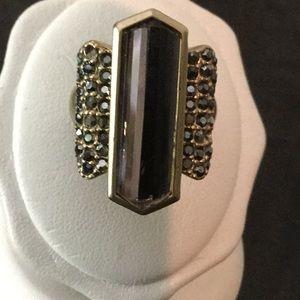 Vtg.LiaSophia Gold Ring Size 7.5 Smokey TopazColr